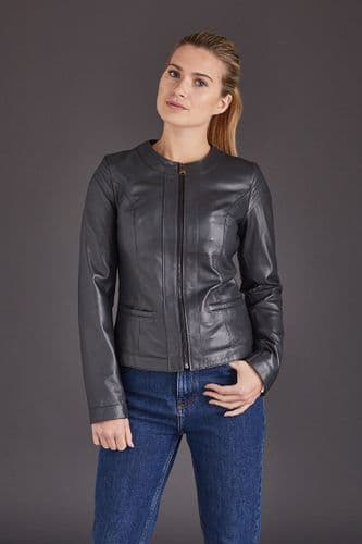 Grey Leather Jacket Ladies :Chenel